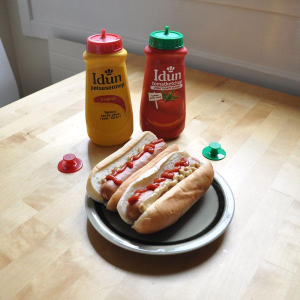 Norwegian hotdog with Idun mustard and ketchup