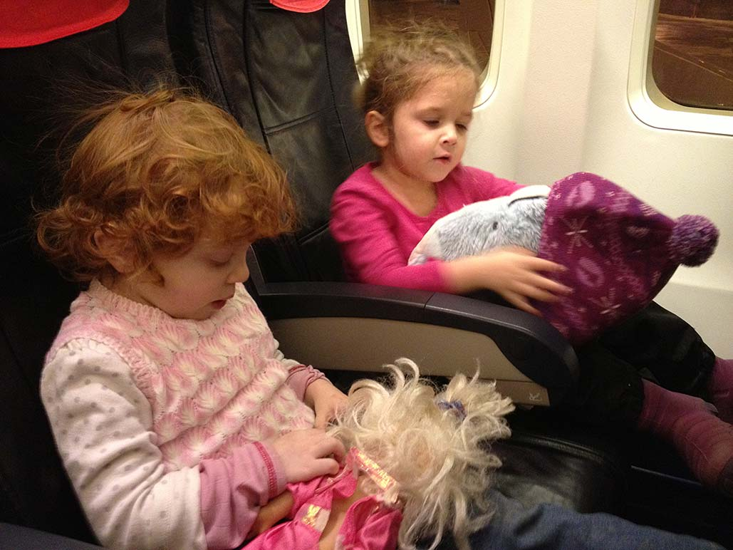 Leah relished the time spent with two girls we were lucky enough to spend time with. Here she and Penny arrange their friends before take off.
