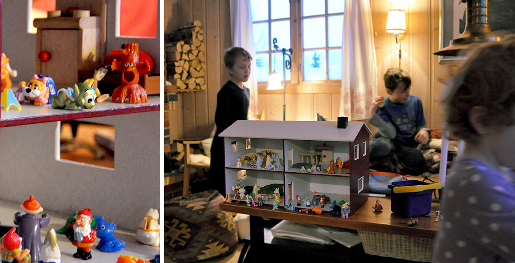 In one of the bedrooms we found a dollhouse and bin of small figurines. Leah set-up shop with this all weekend.