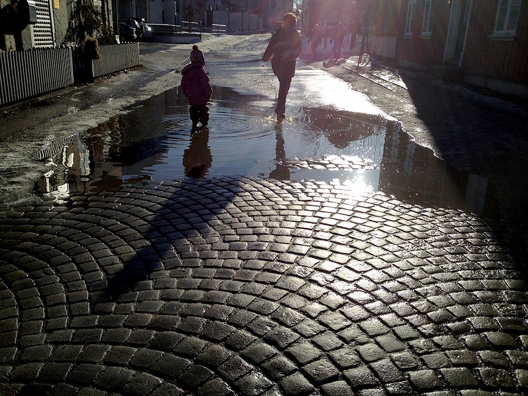 Lately there have been many puddles to the delight of the kids and dismay of the reident laundress.
