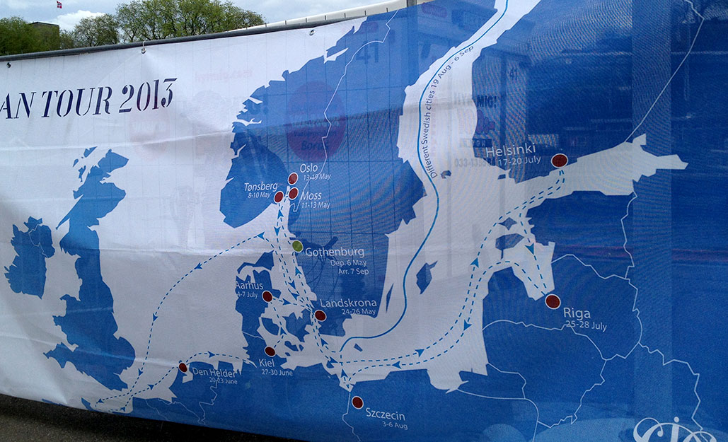The map of the Europeana Tour, blue is land, not water (hard for me to read this!).
